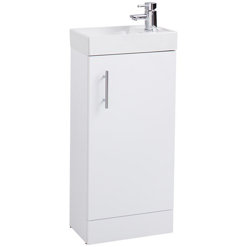 Cube 40cm Compact Vanity Unit & Washbasin Gloss White