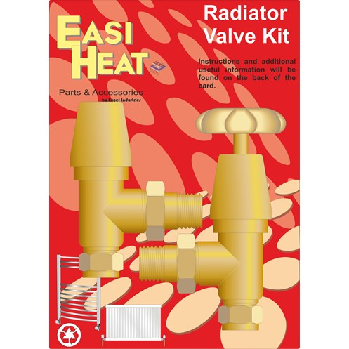 Easi Heat  Brass Rose Head Radiator Valves Kit - 1/2in